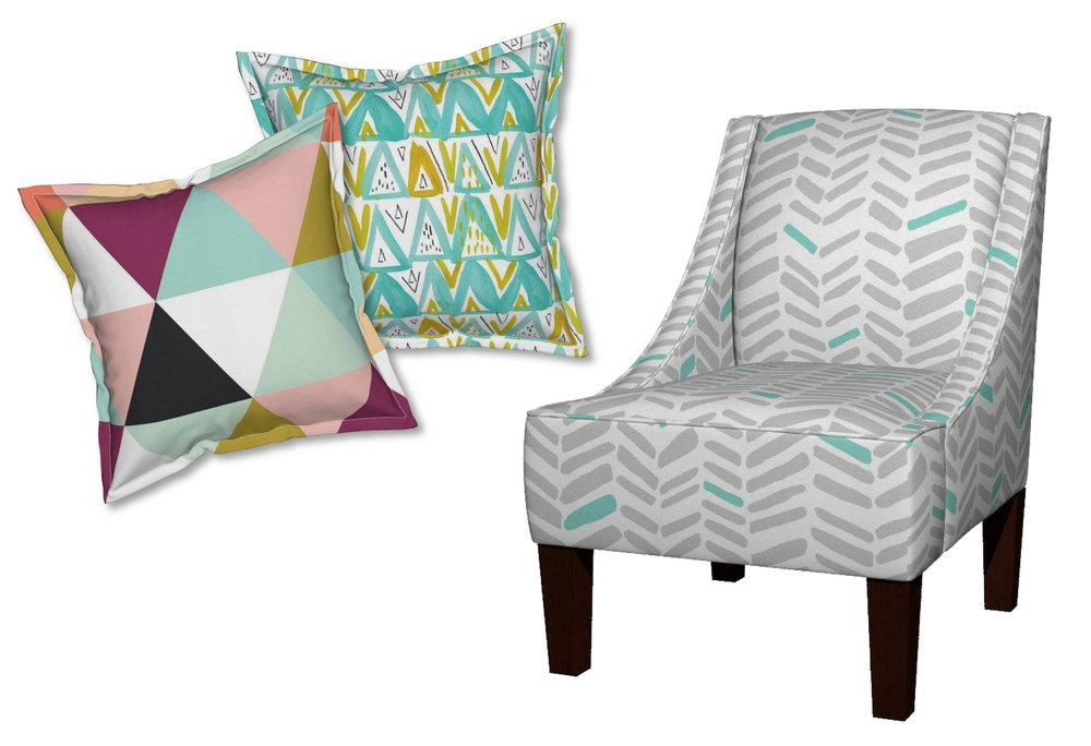 Triangle Wholecloth Serama Pillow by IvieClothCo; Caret + Comma in Grellow Mint Serama Pillow by EmilySanford;  Fossils Gray/Mint Venda Chair by Leanne