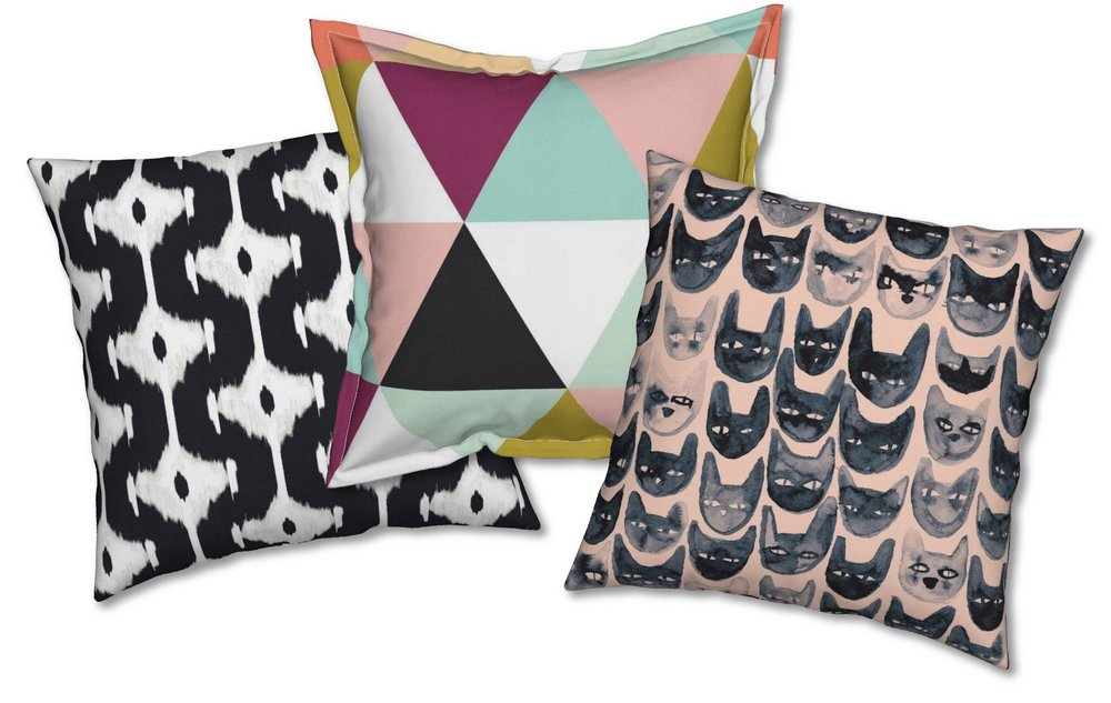 From ikat to cats and everything in between!  Learn how to introduce themes, colors and styles in your home. Pillow designer credits below.