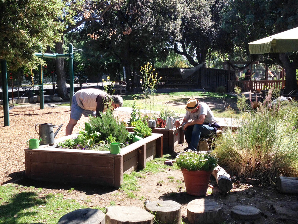 Parent volunteers brighten the Bunny/Koala yard at the Oak Grove site!