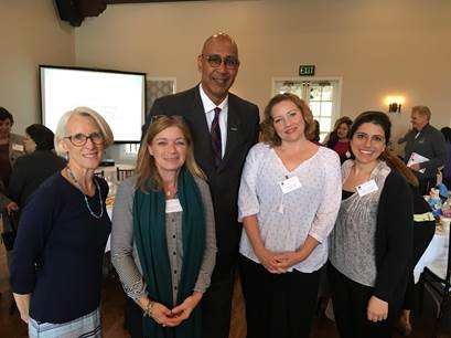 Ellen Veselack (Preschool Director), Lisa Cain-Chang (Director of Children's Programs), Assemblyman Chris Holden, Allegra Inganni (School Age Director) and Talar Tchobanian (School Age Assistant Director)