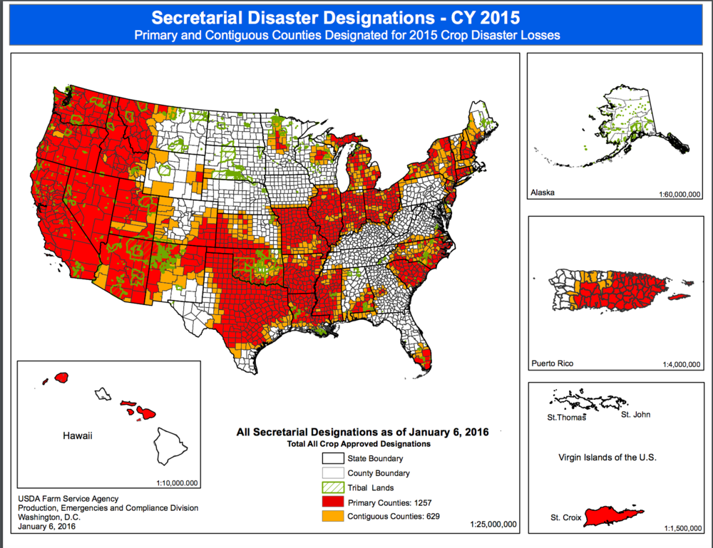 Counties sensitive to crop loss. Source: USDA