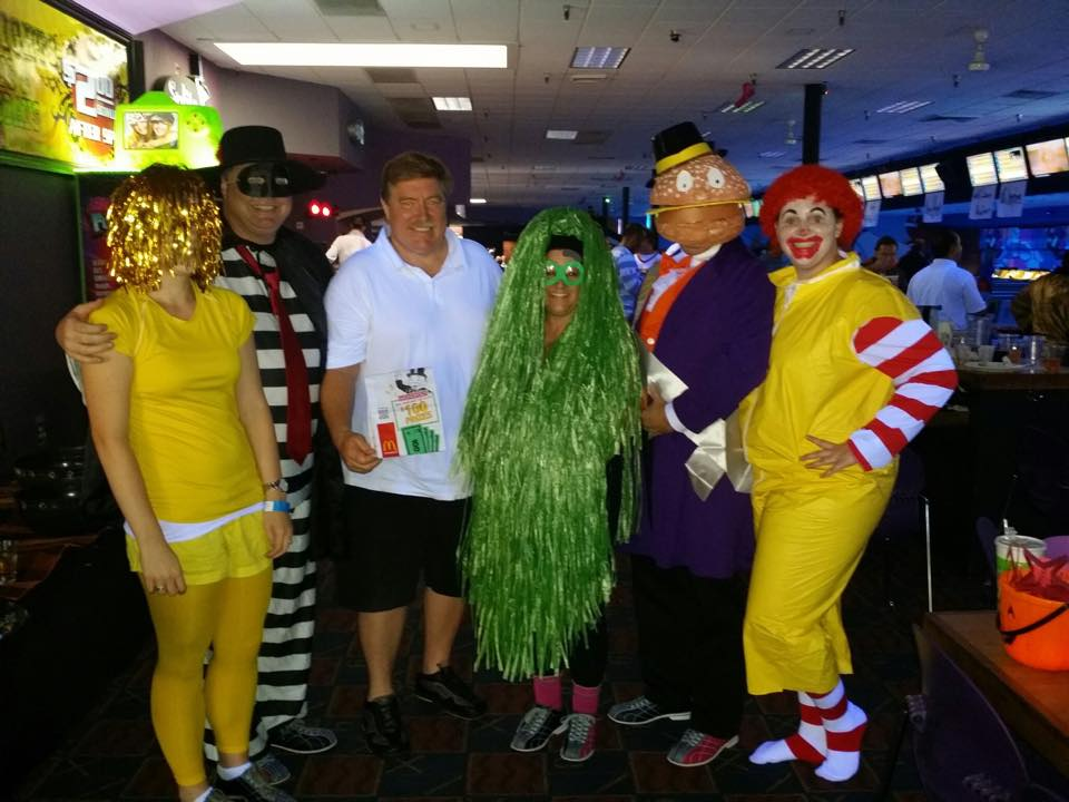 The Lighthouse team and clients pose for a picture at OCAR's annual costume bowl. We won best team costume that year!