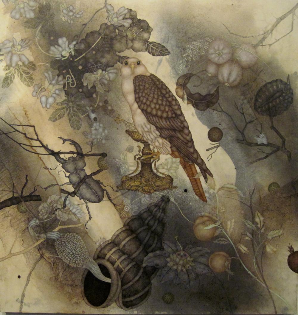 "Back From The Edge (2015), 40"" x 38"", oil, asphaltum, encaustic, on Okawara paper on canvas"