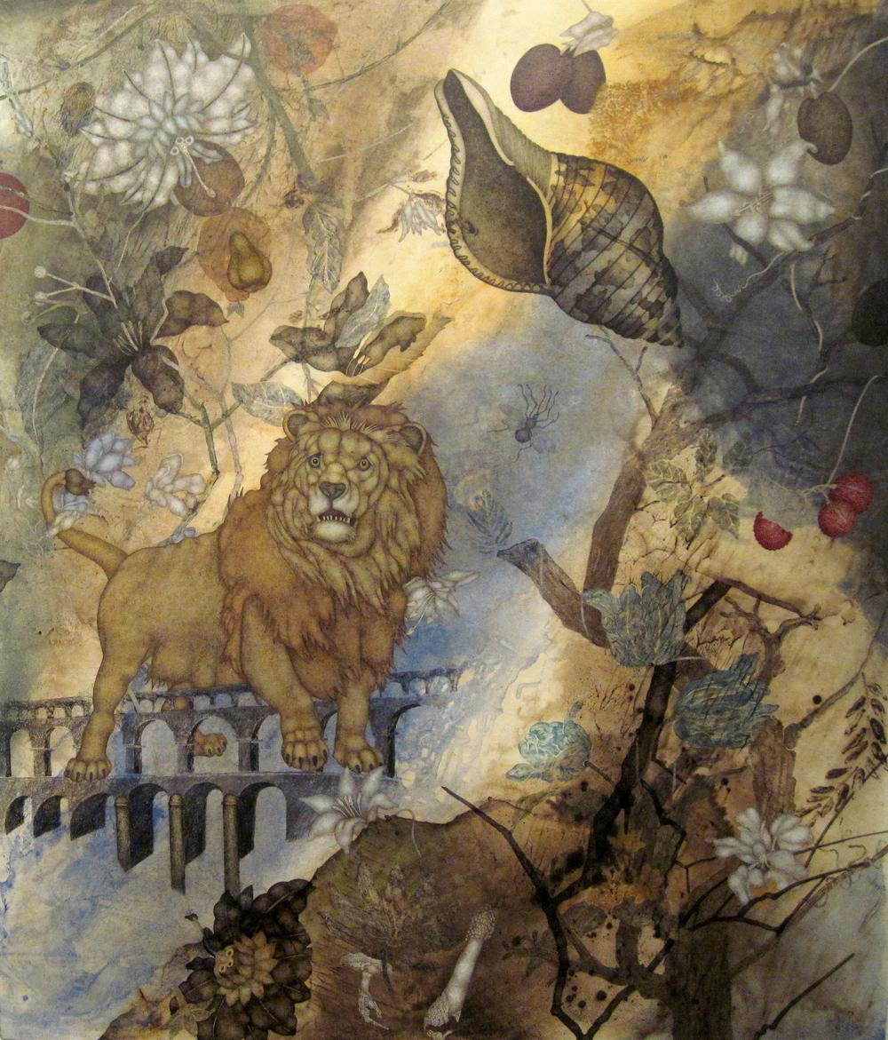 """Cold Harvest (2015), 44"""" x 38"""", oil, asphaltum, encaustic, on Okawara paper on canvas"""