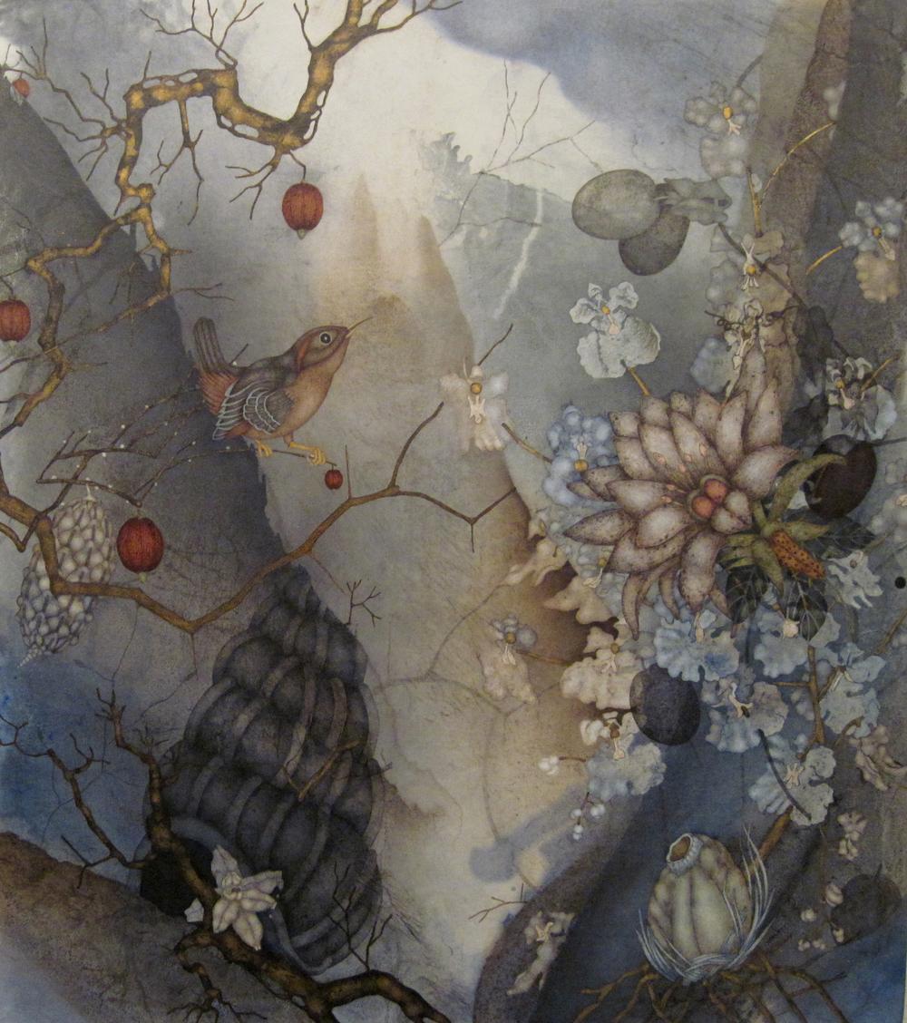 "Flower Reign (2015), 36"" x 32"", oil, asphaltum, encaustic, on Okawara paper on canvas"