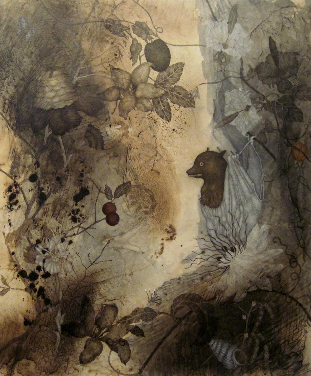 "Knight (2015), 36"" x 36"", oil, asphaltum, encaustic, on Okawara paper on canvas"