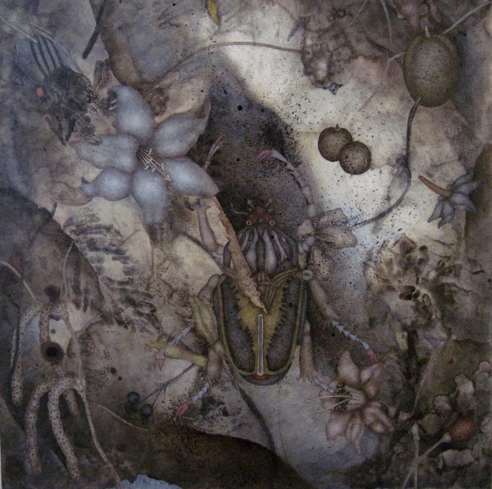 "Loam (2015), 20"" x 20"", oil, asphaltum, encaustic, on Okawara paper on canvas"