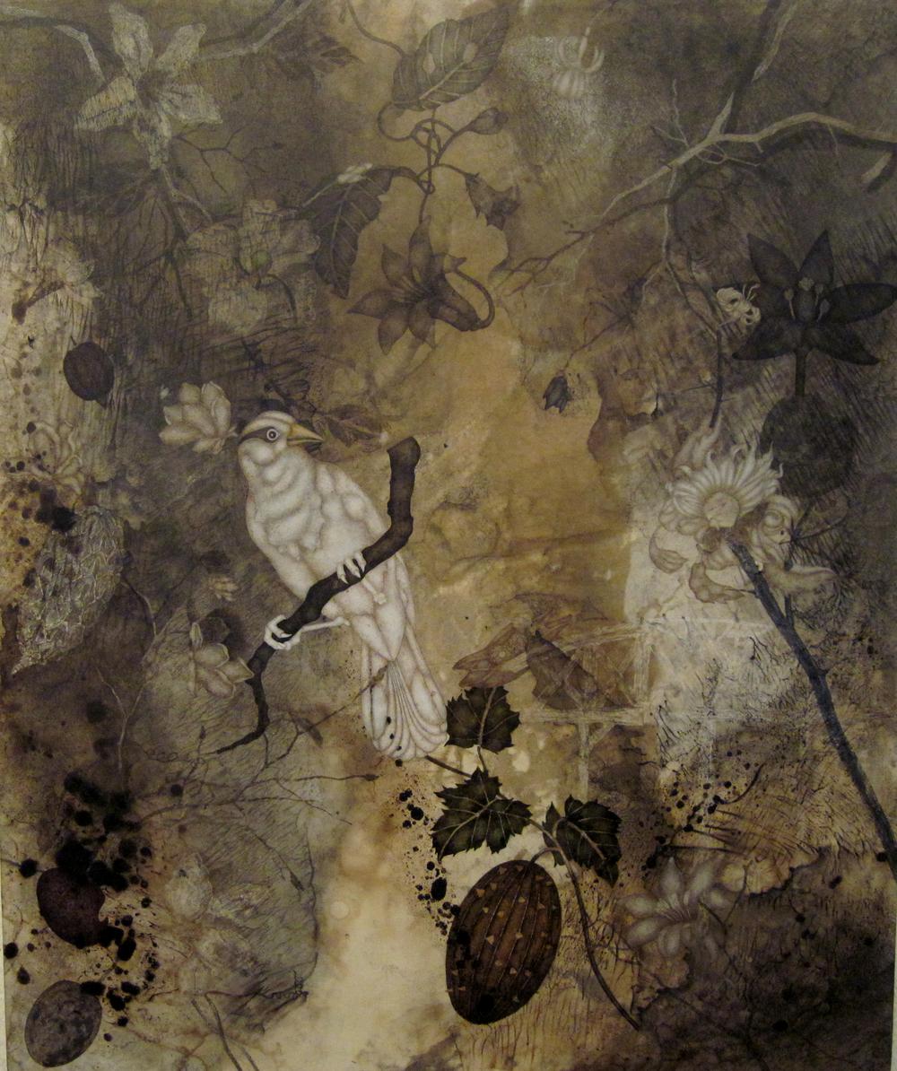 "Sudden Persuasion (2015), 36"" x 32"", oil, asphaltum, encaustic, on Okawara paper on canvas"