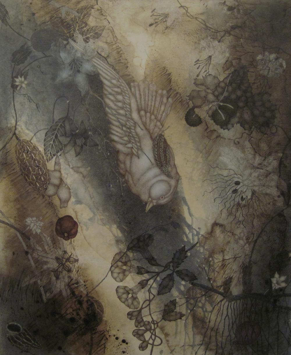 "Seriously Uncertain II (2015), 36"" x 32"", oil, asphaltum, encaustic, on Okawara paper on canvas"