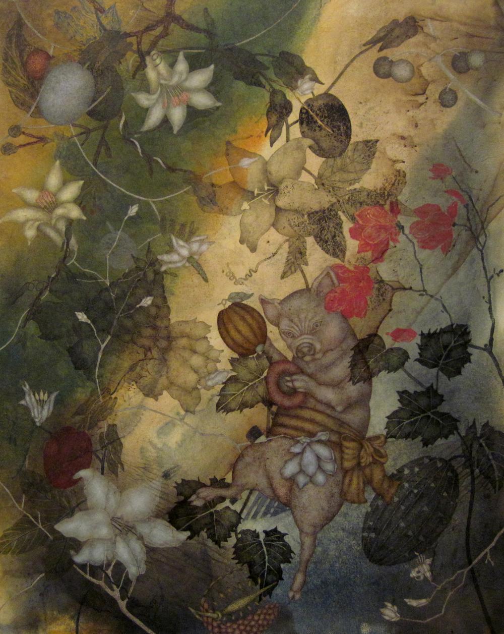 """Swine (2015), 30"""" x 24"""", oil, asphaltum, encaustic, on Okawara paper on canvas"""