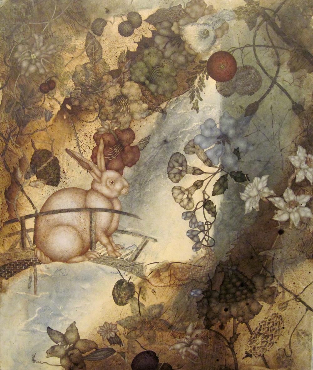 "Strange Vacation (2015), 40"" x 34"", oil, asphaltum, encaustic, on Okawara paper on canvas"