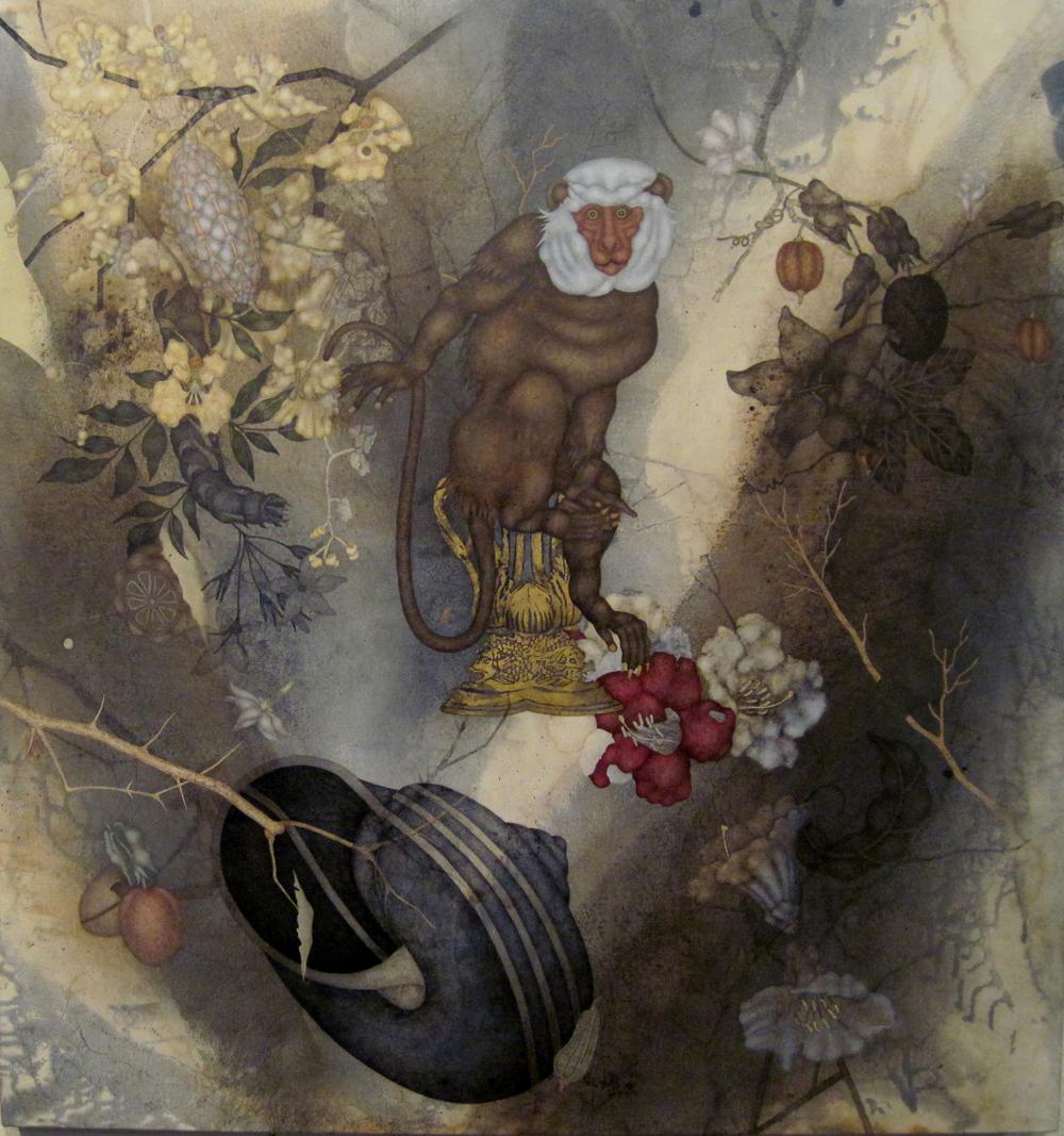 """Throwing Voices (2015), 40"""" x 38"""", oil, asphaltum, encaustic, on Okawara paper on canvas"""