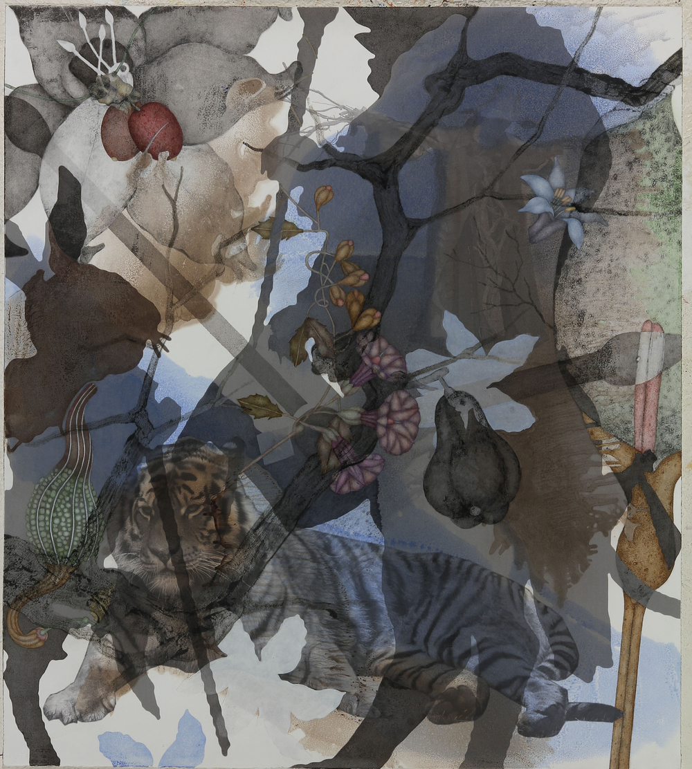 "Siberian Tiger (2015), 36"" x 32"", Oil, asphaltum, inkjet, and acrylic pigment on Arches Heavyweight paper"
