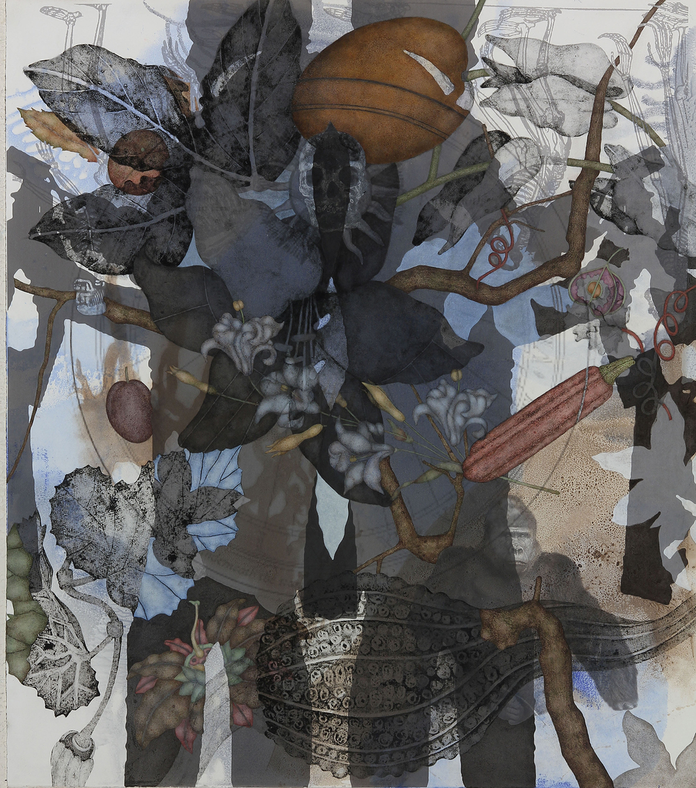 "Mountain Gorilla (2015), 36"" x 32"", Oil, asphaltum, inkjet, and acrylic pigment on Arches Heavyweight paper"