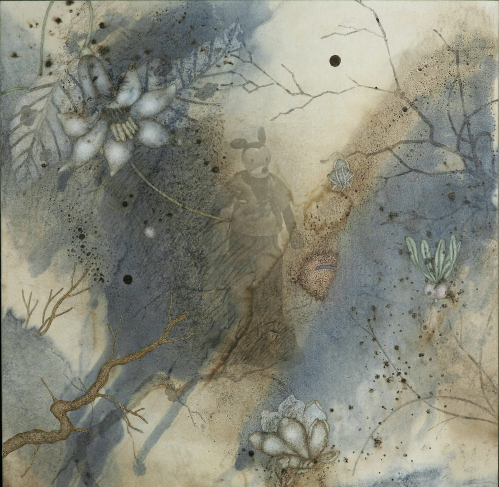 "Stand In (2010), 12"" x 12"", Oil, asphaltum, encaustic,and inkjet on Okawara Paper, mounted on canvas"