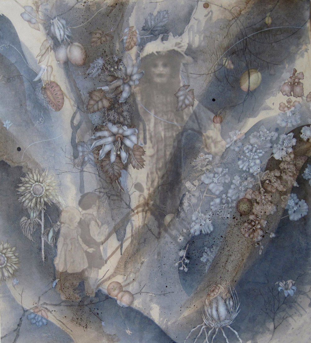 "Autumn Gethsemane (2011), 42"" x 38"", Oil, asphaltum, encaustic,and inkjet on Okawara Paper, mounted on canvas"