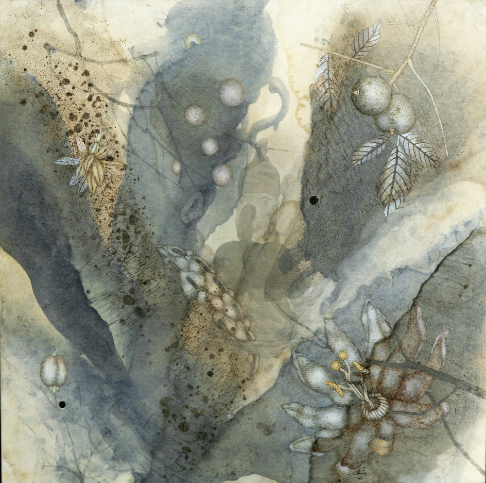 "Stand Out (2011), 12"" x 12"", Oil, asphaltum, encaustic,and inkjet on Okawara Paper, mounted on canvas"