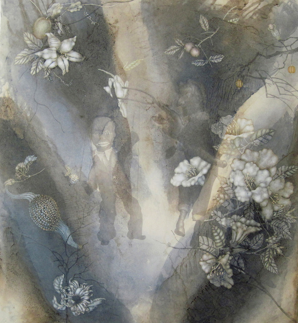 "Dance (2011), 42"" x 38"", Oil, asphaltum, encaustic,and inkjet on Okawara Paper, mounted on canvas"
