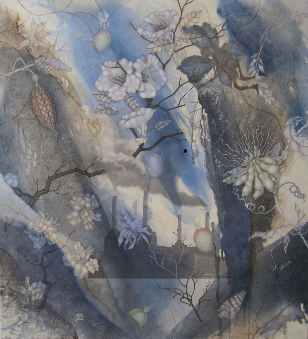 "Fairy Lands (2011), 42"" x 38"", Oil, asphaltum, encaustic,and inkjet on Okawara Paper, mounted on canvas"