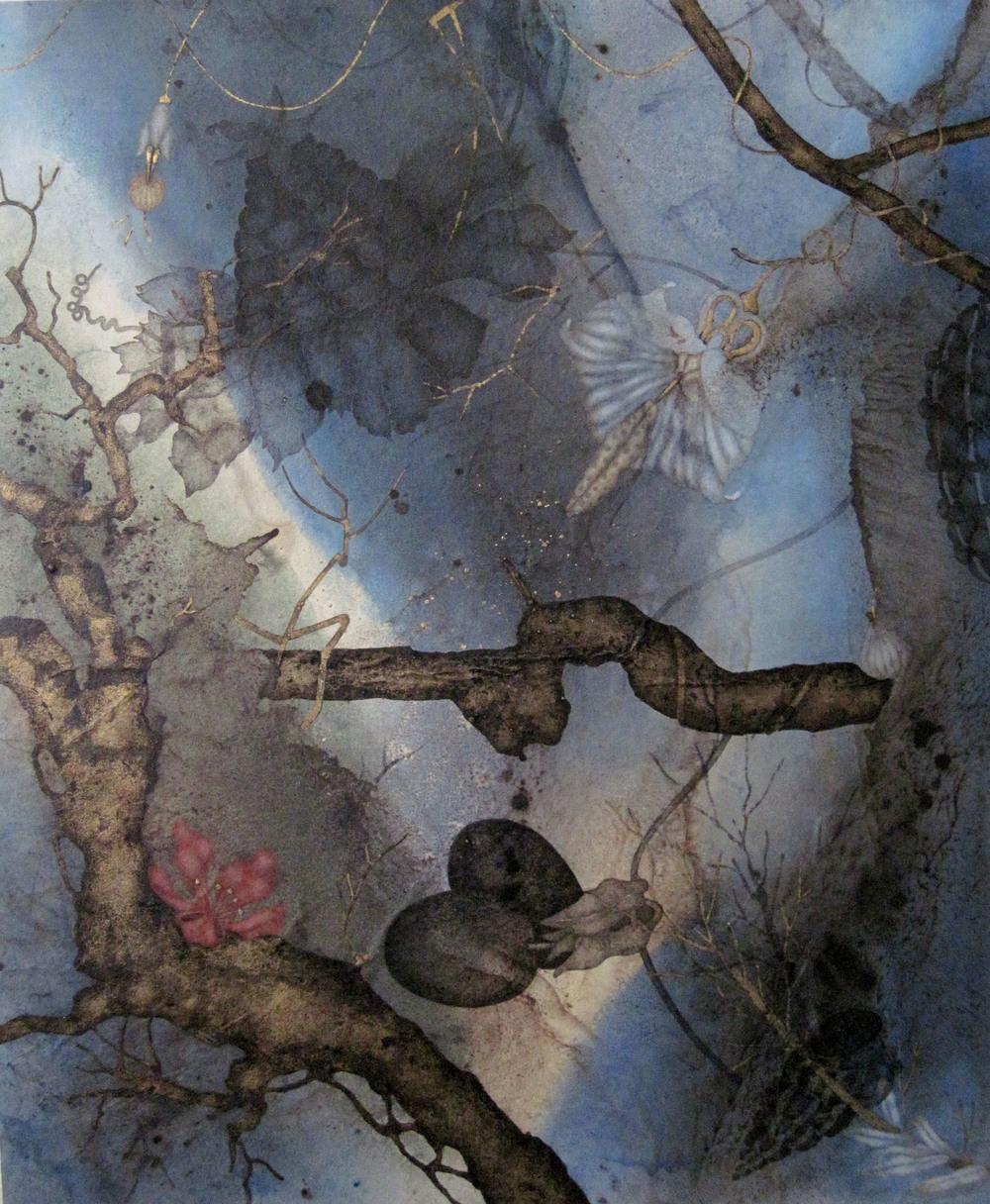 "Devil's Cut (2015), 24"" x 20"", Oil, asphaltum, gold leaf, and encaustic on Okawara paper, mounted on canvas"