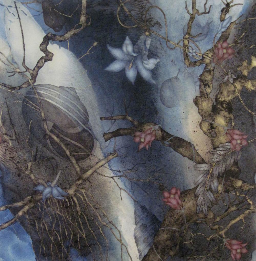 "Nativity (2015), 20"" x 20"", Oil, asphaltum, gold leaf, and encaustic on Okawara paper, mounted on canvas"