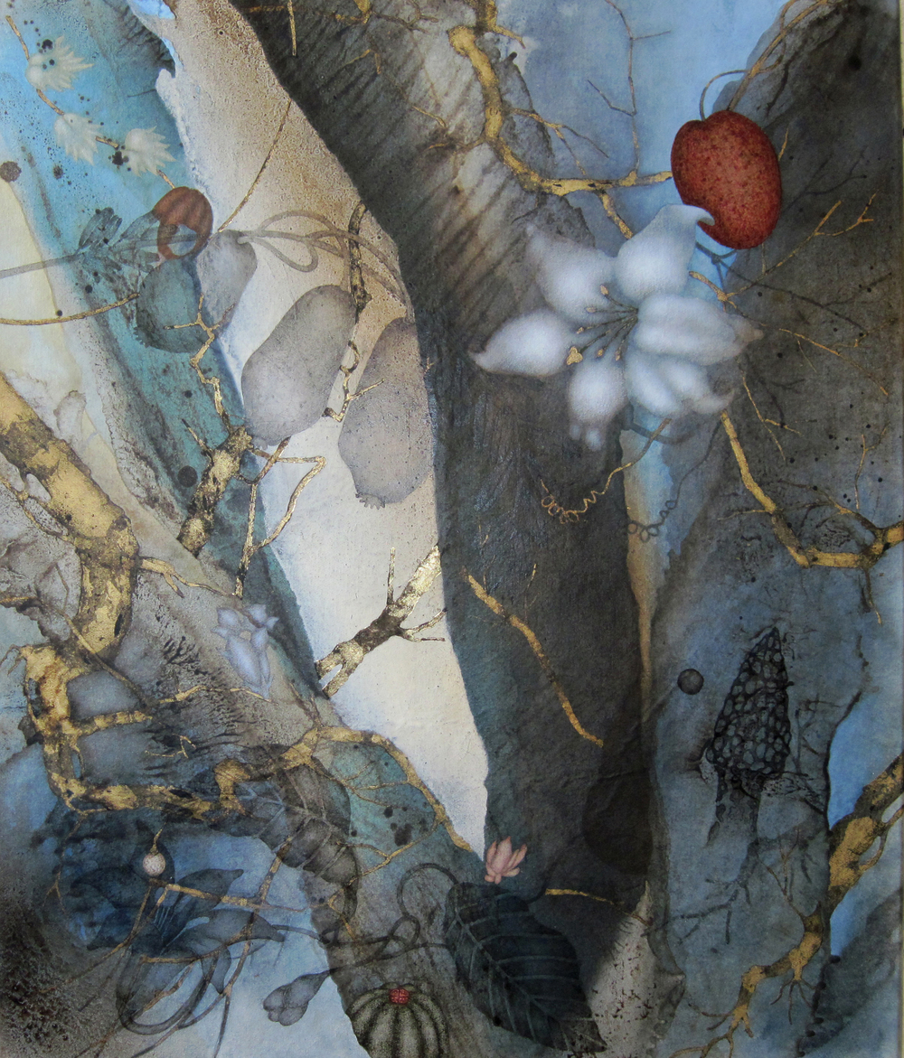 "Copy of Pears (2016), 24"" x 20"", Oil, asphaltum, gold leaf, and encaustic on Okawara paper, mounted on canvas"