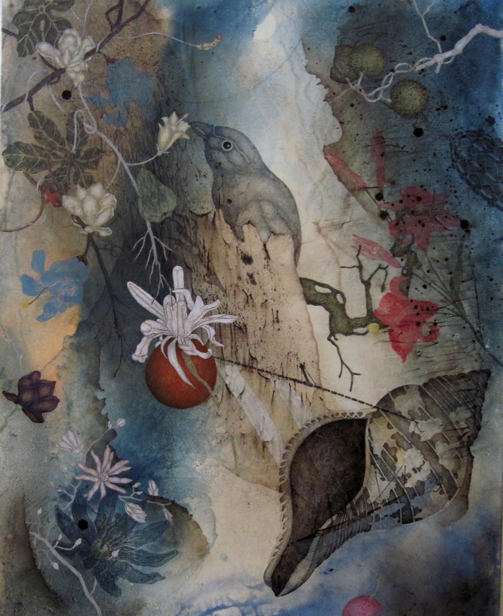 "Copy of Devil's Run (2016), 30"" x 24"", Oil, asphaltum, gold leaf, and encaustic on Okawara paper, mounted on canvas"