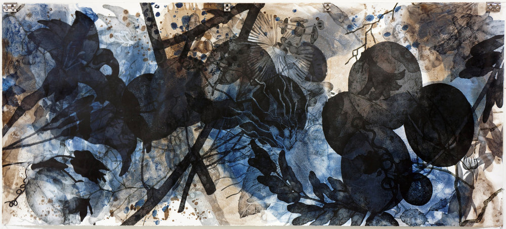"Hatsuboku I (2012), 43"" x 96"", oil, and acrylic on Arches Heavyweight paper"