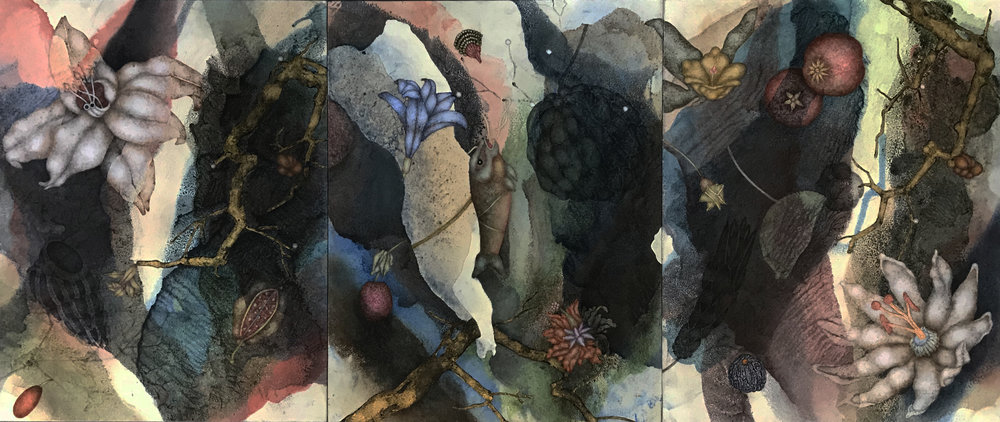 Carnival Dust I (2019), 14in x 33in, oil, asphaltum, encaustic, gold leaf on Okawara paper on panel(s)