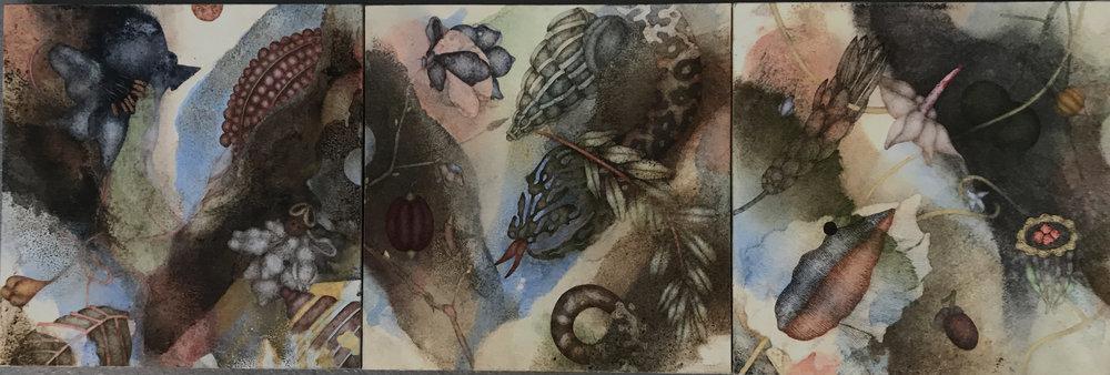 Carnaval Dust II (2019), 10in x 30in, oil, asphaltum, encaustic, gold leaf on Okawara paper on panel(s)