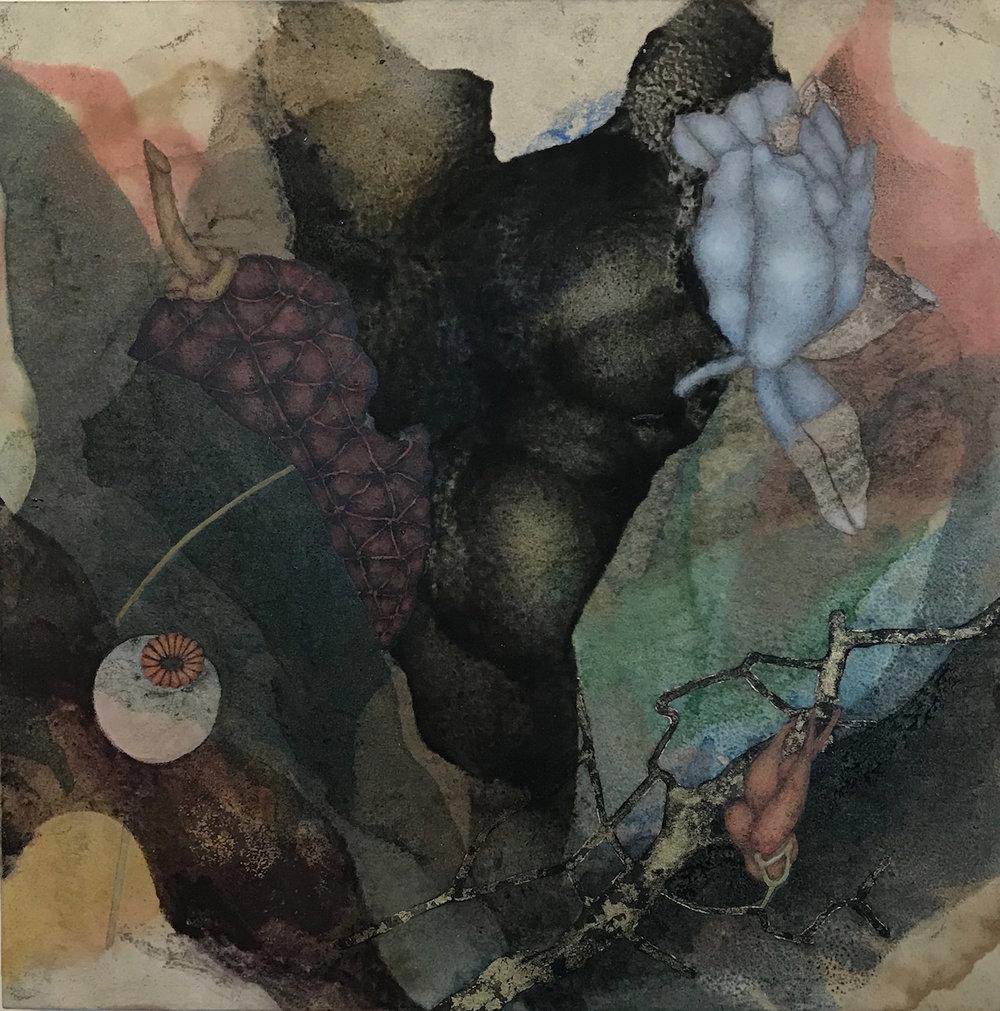 Sky Factory II (2019), 12in x 12in, oil, asphaltum, encaustic, gold leaf on Okawara paper on panel