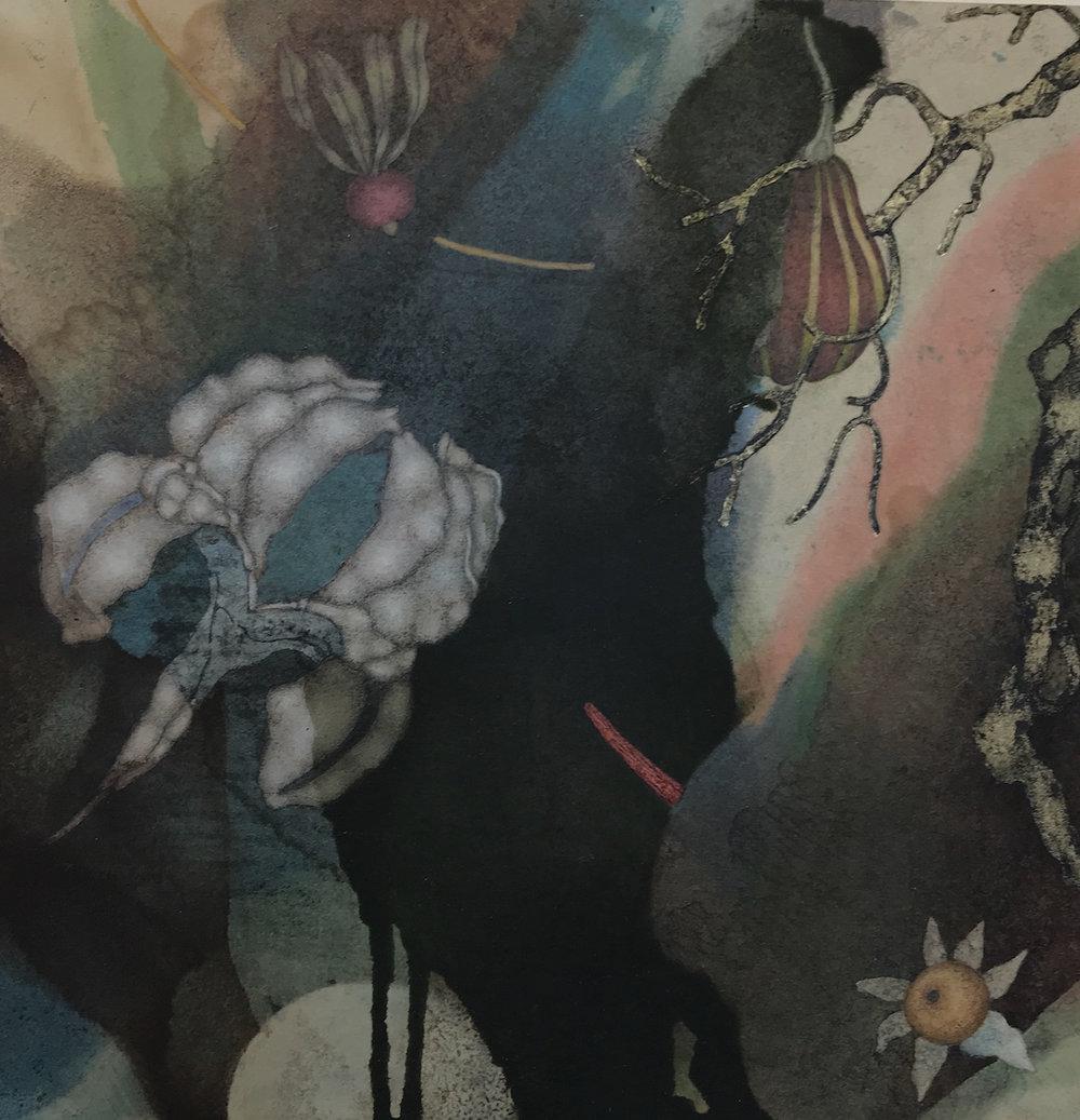Sky Factory III (2019), 12in x 12in, oil, asphaltum, encaustic, gold leaf on Okawara paper on panel