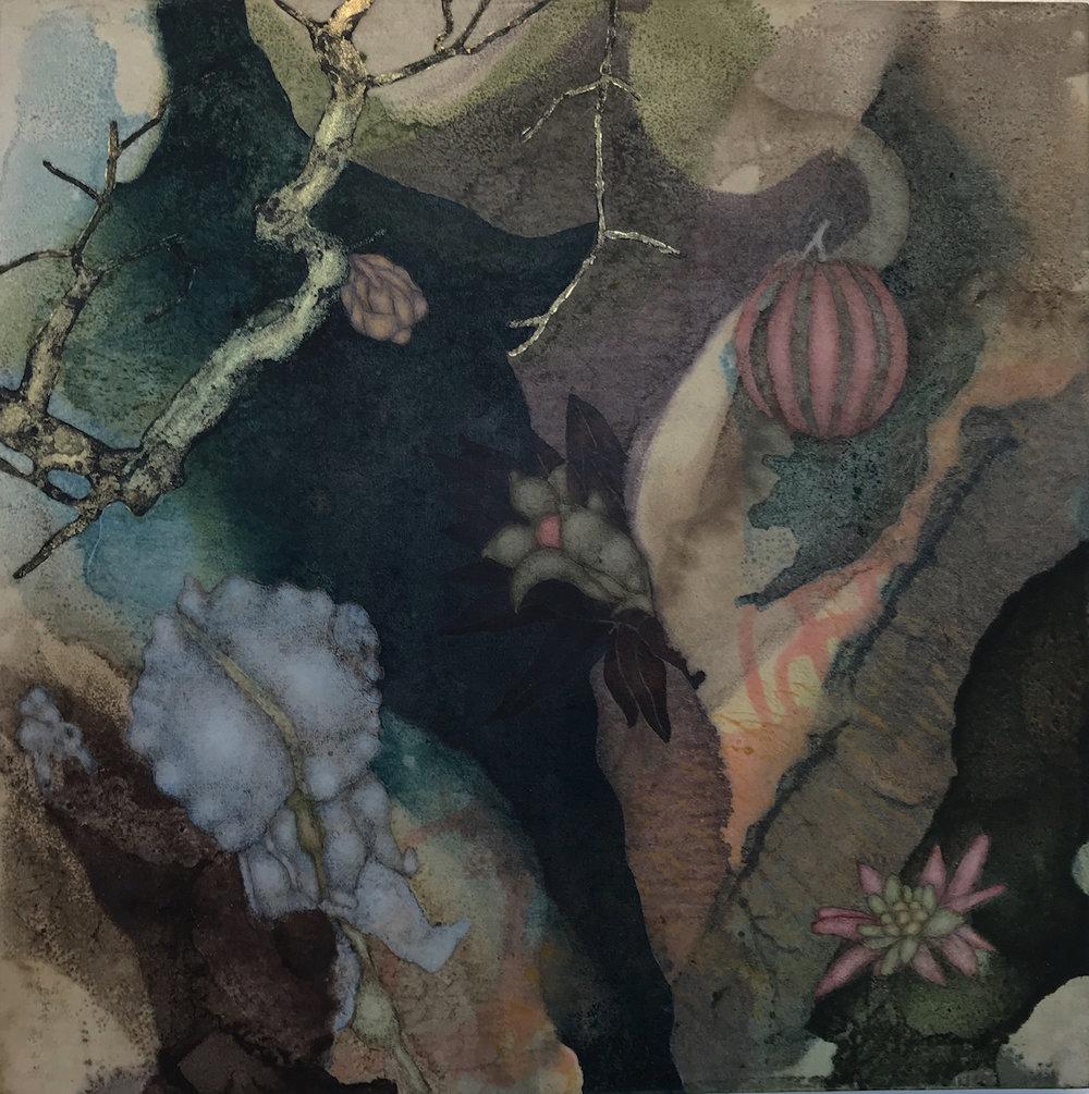 Sky Factory IV (2019), 12in x 12in, oil, asphaltum, encaustic, gold leaf on Okawara paper on panel