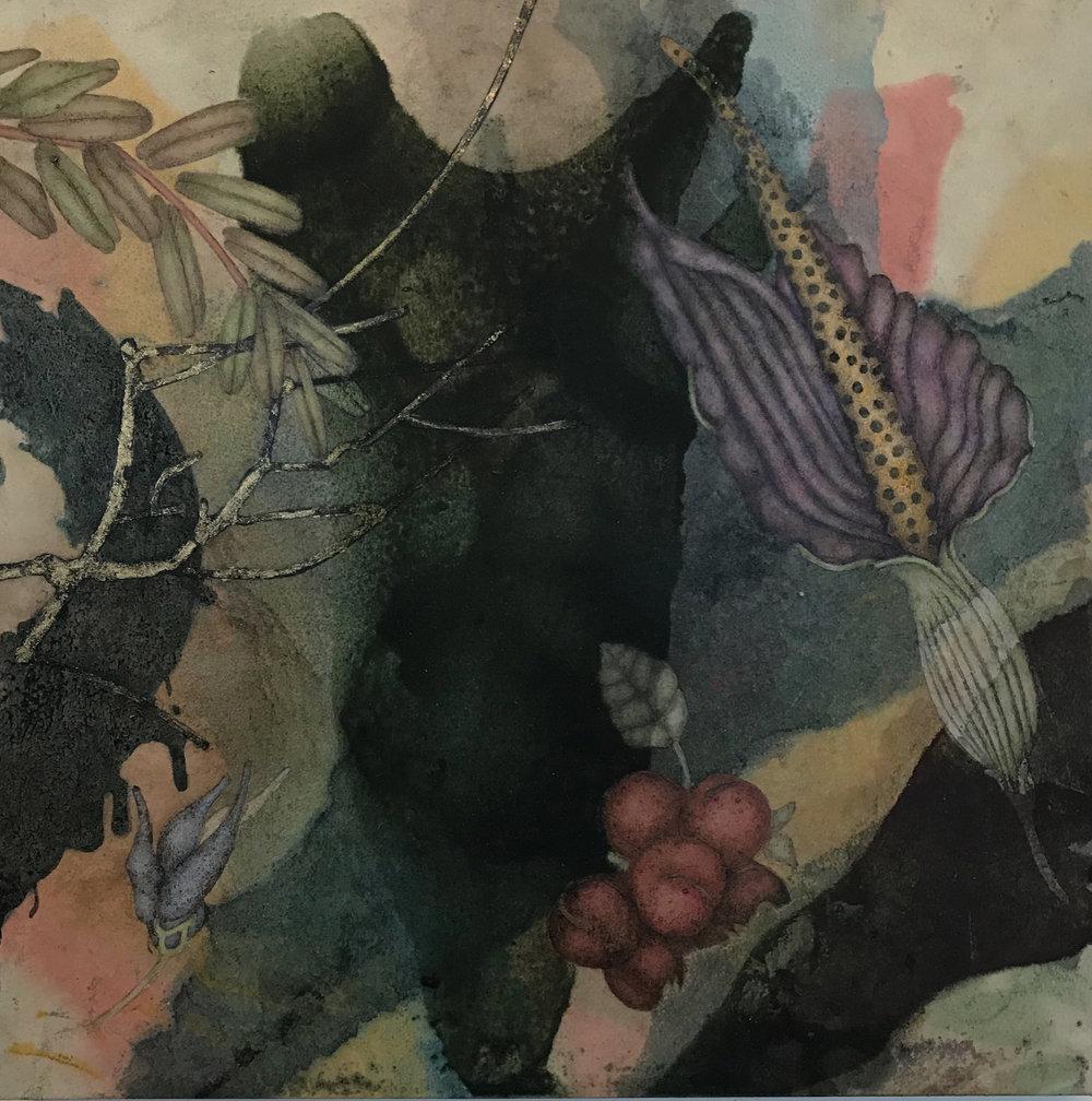 Sky Factory VI (2019), 12in x 12in, oil, asphaltum, encaustic, gold leaf on Okawara paper on panel