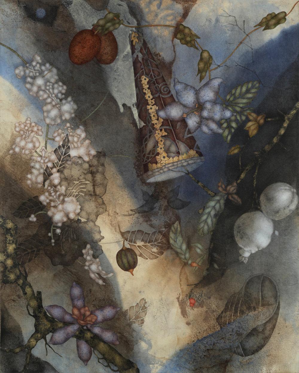 Penny Fool (2018), 30in x 24in, oil, encaustic , asphaltum ,gold leaf on Okawara paper on panel