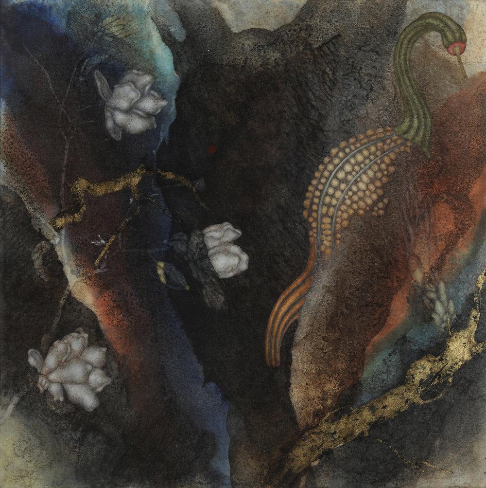 Tundale's Journey II (2017)16in x16in oil,encaustic, asphaltum, gold leaf, on Okawara paper on panel