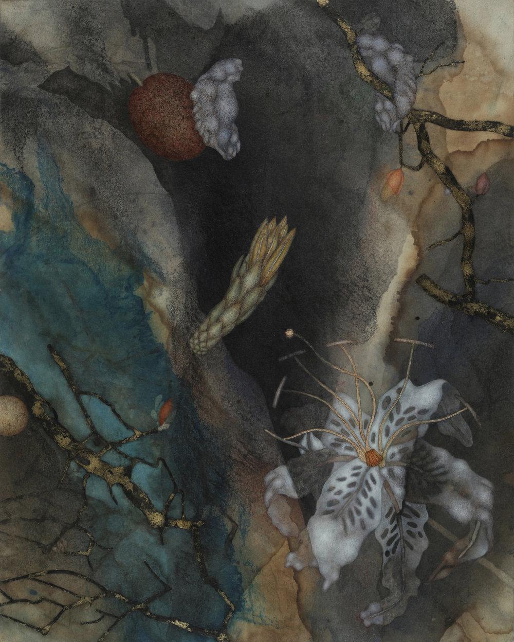 Tundale's Journey III (2017), 20in x16in,oil, encaustic, asphaltum, gold leaf, on Okawara paper on panel