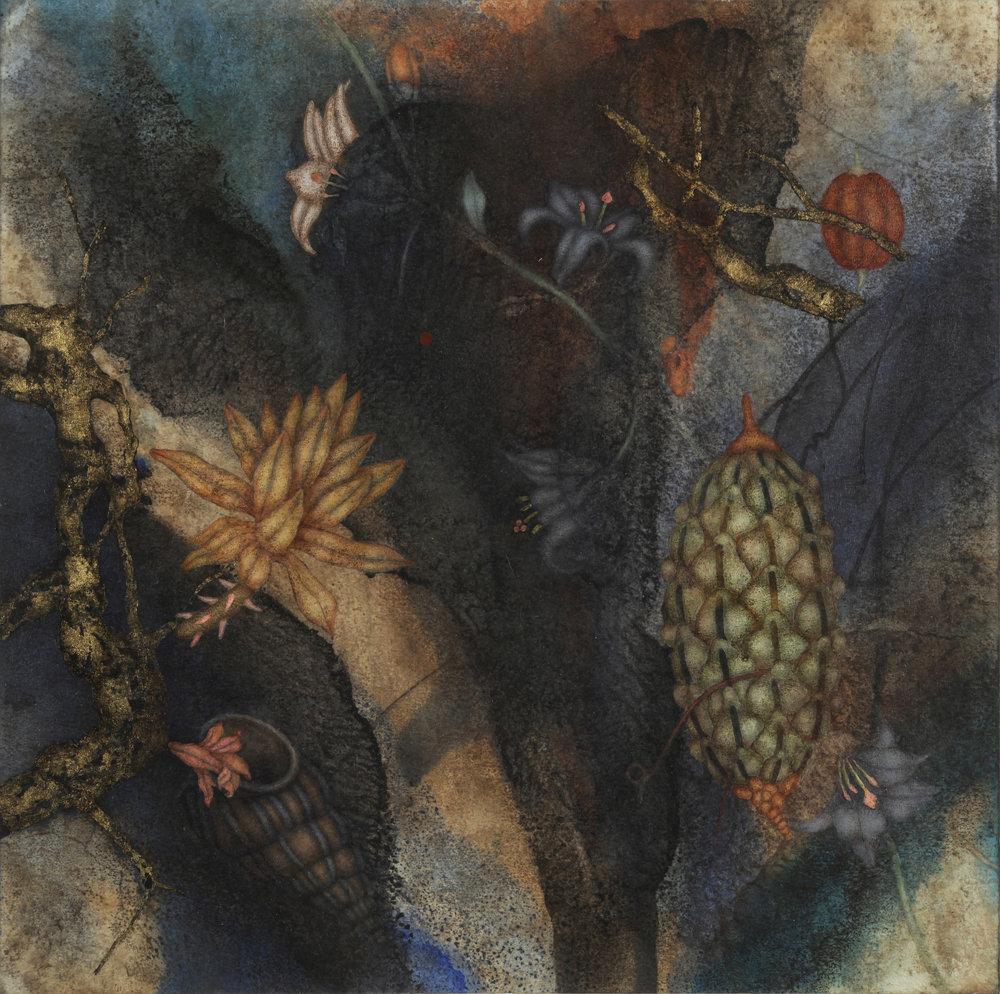 Tundale's Journey IV (2017), 16in x16in, oil,encaustic, asphaltum, gold leaf, on Okawara paper on panel