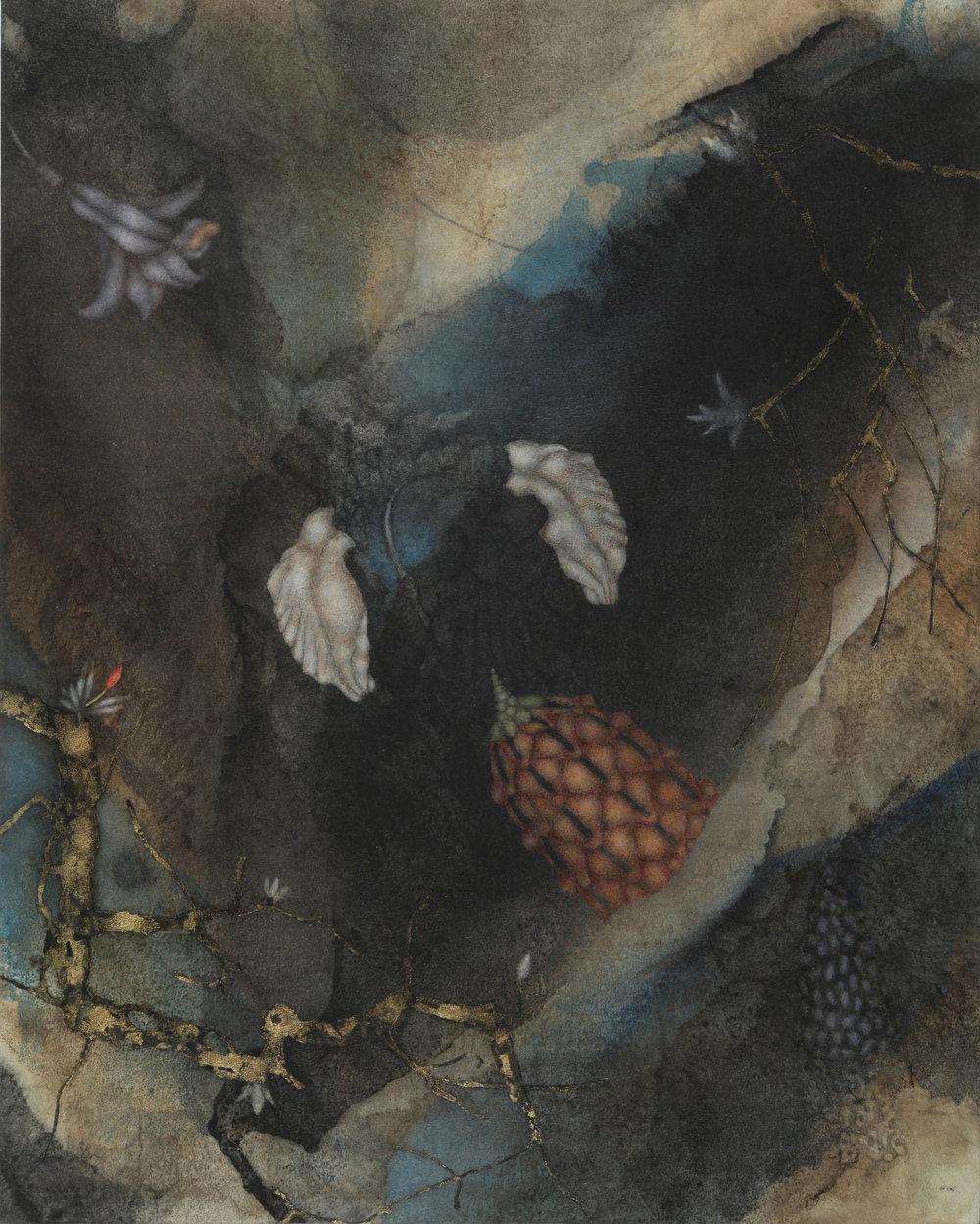 Tundale's Journey (2017), 20in x16in oil,encaustic,asphaltum, gold leaf, on Okawara paper on panel