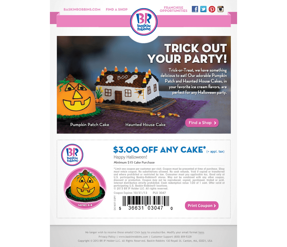 Baskin-Robbins Fall Email