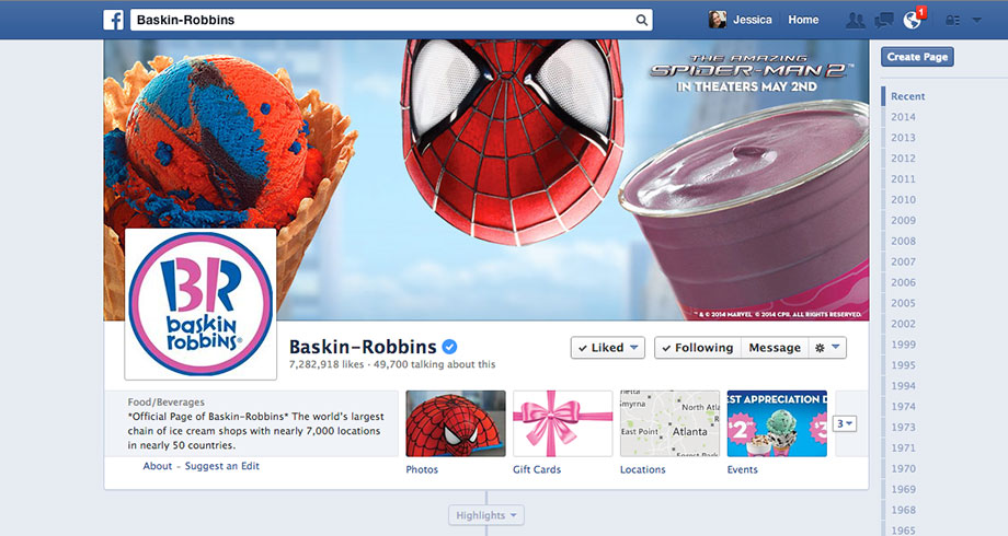 Baskin-Robbins Facebook Profile