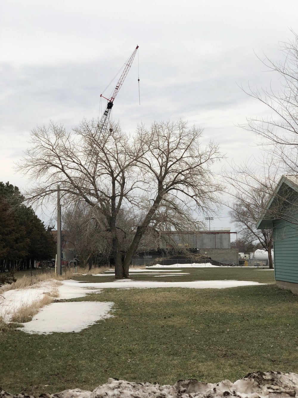 Construction at the Lake Andes school campus in April 2018.
