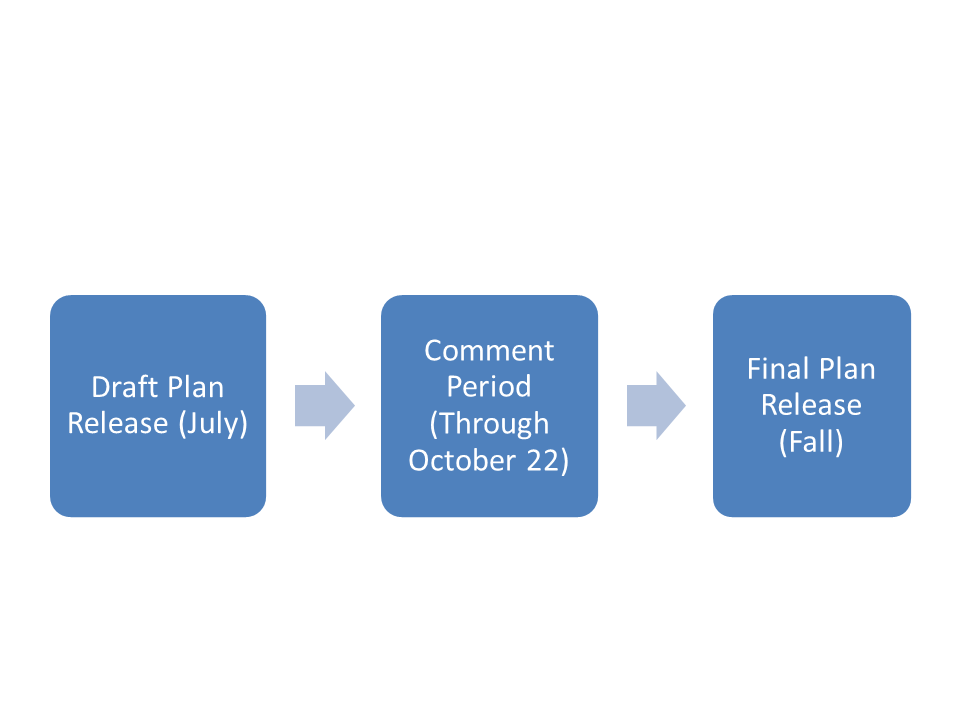 Flowchart showing the Focus40 schedule: Draft Plan Release in July; Comment Period through October 22; Final Plan Release in Fall.