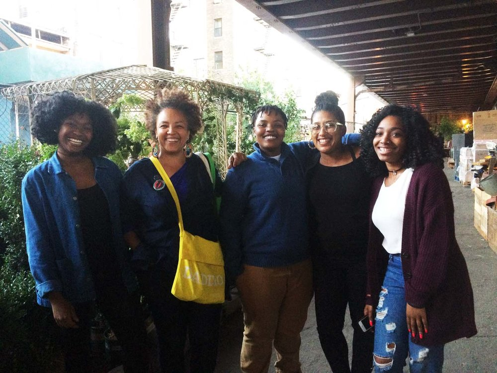 Harlem Prize winners shown here with Funder LaTasha N. Nevada Diggs, and half of URe:AD Press, Shani Peters