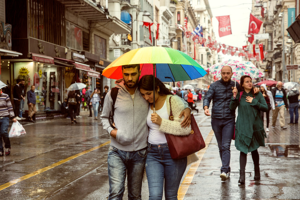 Couples on the pedestrian street in Istanbul.