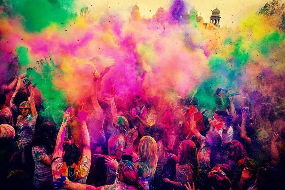 Explosion of colors on the day of Holi, Expect to see something similar at our event on Saturday March, 11th 2017
