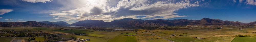 Panoramic Aerial View of Midway, Utah. Taken in October of 2016, this image is stitched together from 10 images taken.
