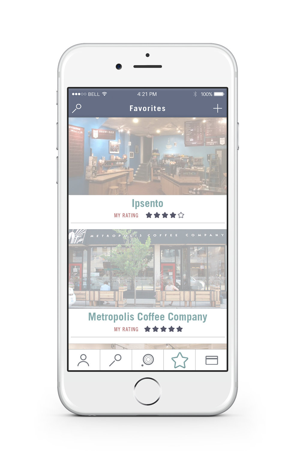 Favorites — When the user saves a location as a favorite spot, he/she can quickly access the location through the favorites tab.