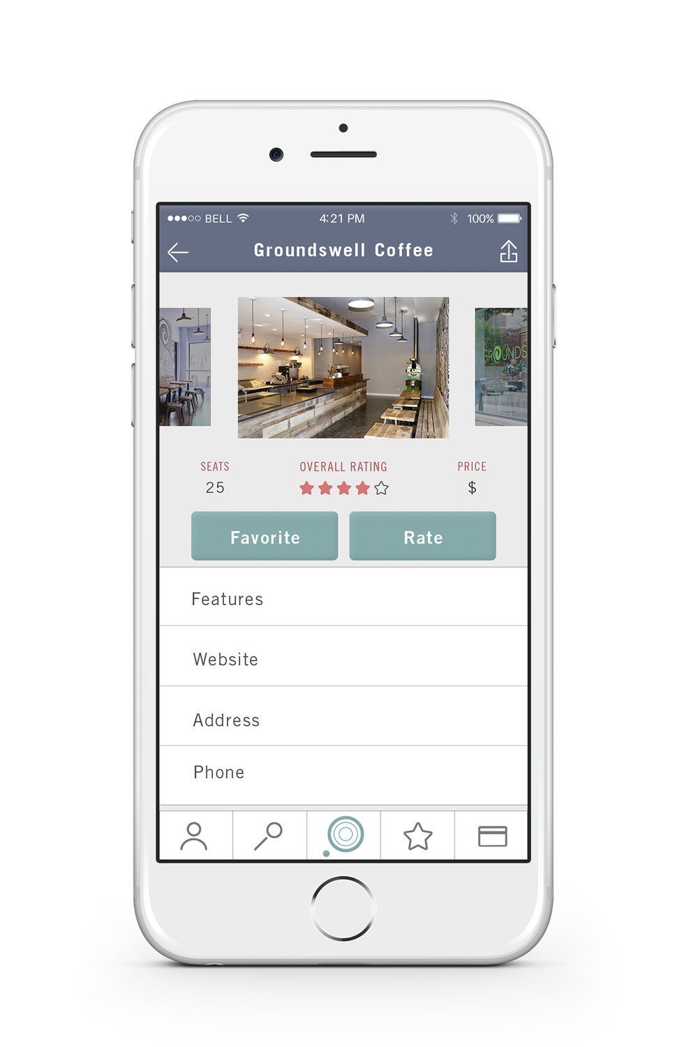 """Location Profile — Each location has a profile page that describes the number of seats currently available, overall rating and price. The user can also find business features and basic information about the location, such as the address and phone number. Tapping the """"Favorite"""" button will add the location to the user's favorites list. Tapping the """"Rate"""" button will allow the user to rate the location."""