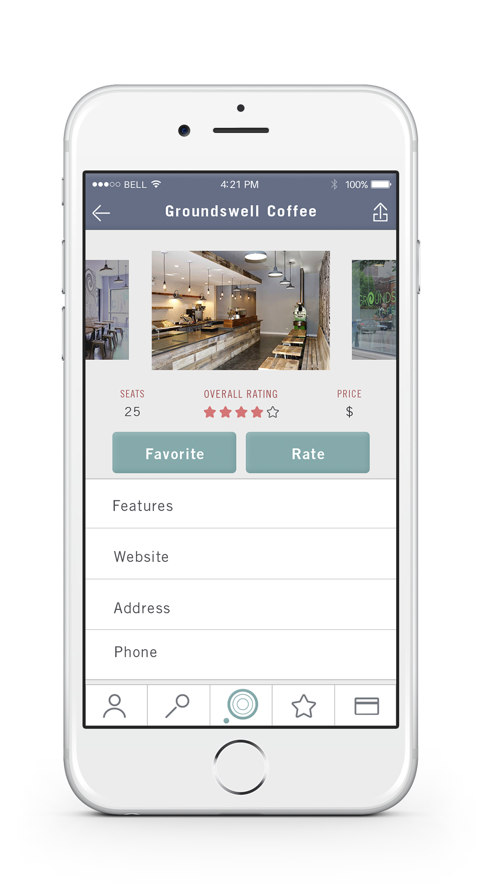 "Location Profile    —   Each location has a profile page that describes the number of seats currently available, overall rating and price. The user can also find business features and basic information about the location, such as the address and phone number. Tapping the ""Favorite"" button will add the location to the user's favorites list. Tapping the ""Rate"" button will allow the user to rate the location."